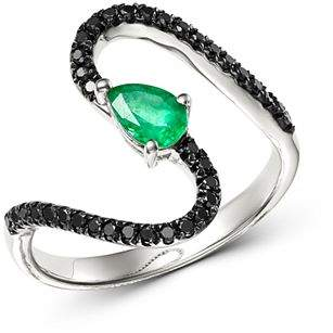 Bloomingdale's Black Diamond & Emerald Teardrop Swerve Cocktail Ring in 14K White Gold - 100% Exclusive