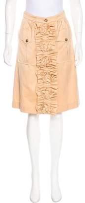 Saint Laurent Button-Up Appliqué Skirt