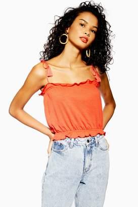 Topshop Womens Petite Tassle Tie Cami - Red