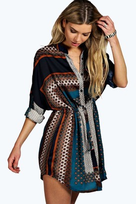 boohoo Paisley Shirt Dress