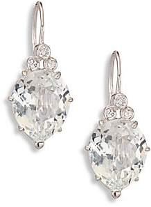 Anzie Anzie Women's Classique Pear White Topaz& White Sapphire Drop Earrings