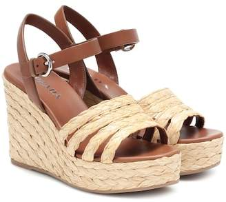 63aa070d0559 Prada Leather espadrille wedge sandals