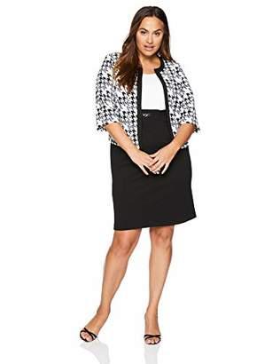 Sandra Darren Women's 2 PC Plus Size 3/4 Sleeve Bullet Knit Jacket Dress Set