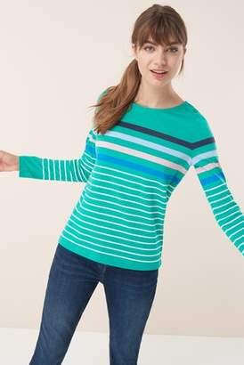 Next Womens Green Rainbow Stripe Top