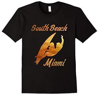 South Beach Miami Surfer Gold Souvenir Tshirt