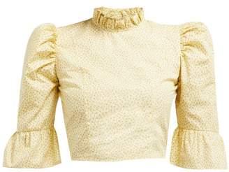Batsheva Ruffled Floral Print Cotton Cropped Blouse - Womens - Yellow