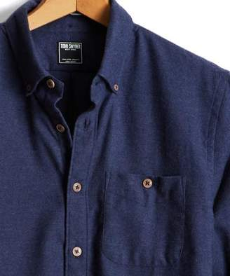 Todd Snyder Brushed Cotton Cashmere Twill Shirt in Navy