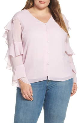 Vince Camuto Tiered Sleeve Button Chiffon Top