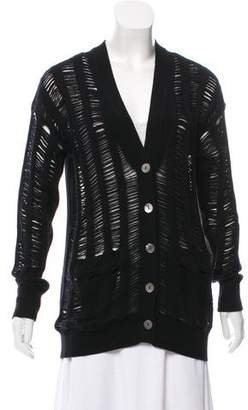 360 Cashmere Wool Distressed Cardigan