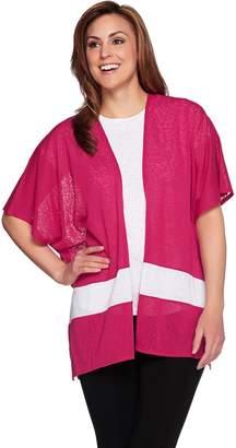 Tashon Slub Jersey Bold Stripe Open Front Cardigan