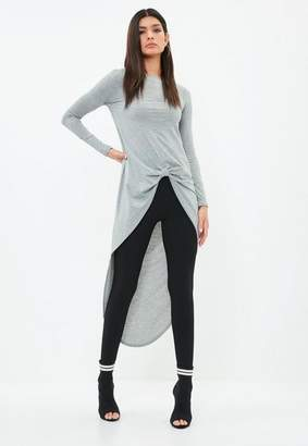 Missguided Gray Knot Front Long Sleeve Tunic