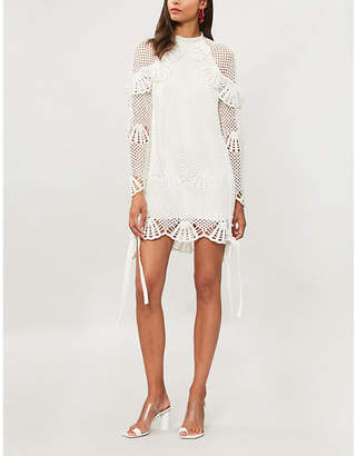 Self-Portrait Ruffled crocheted mini dress