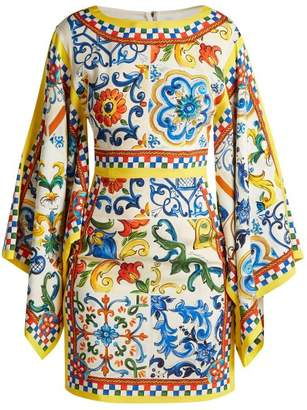 Dolce & Gabbana Majolica Print Silk Blend Charmeuse Dress - Womens - White Print