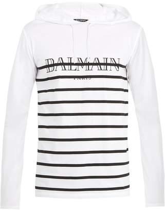 Balmain Striped-logo hooded cotton sweatshirt