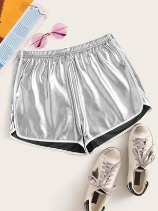 Shein Elastic Waist Metallic Dolphin Shorts