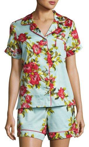 BedHeadBedhead Hibiscus Floral-print Shorty Pajama Set, Light Blue