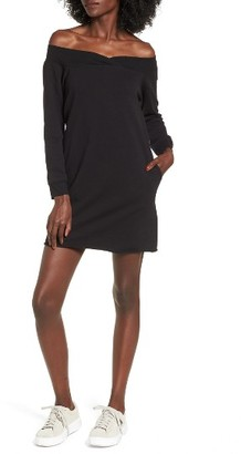Women's Socialite Off The Shoulder Sweatshirt Dress $49 thestylecure.com
