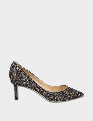 Jimmy Choo Romy 60 Glitter Pumps in Bronze Mix Midnight Coarse Glitter Fabric