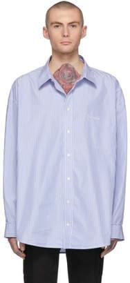 Balenciaga Blue and White Striped Oversized Shirt