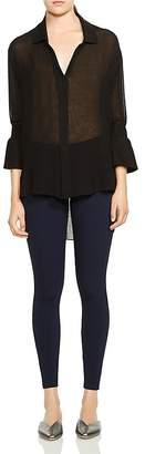 Halston Smocked-Sleeve High/Low Hem Shirt