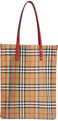 Burberry Vintage Rainbow Check Large Shopper Tote Bag