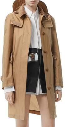 Burberry Taffeta Corduroy-Collar Rain Coat, Beige