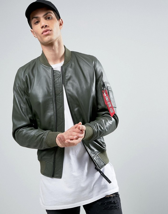 Alpha IndustriesAlpha Industries MA1 Leather Bomber Jacket in Green