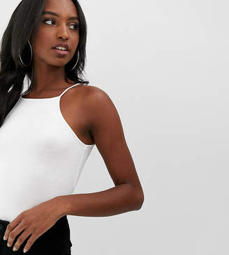 Asos Tall DESIGN Tall high square neck sleeveless body in white