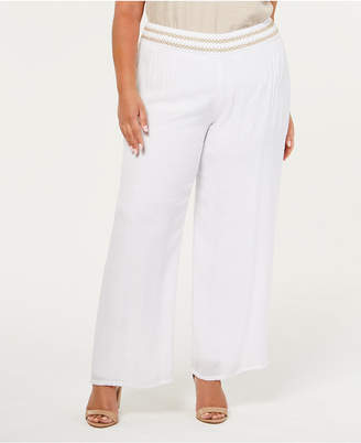 JM Collection Plus Size Lined Gauze Pull-On Pants
