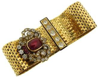 Van Cleef & Arples 18K Yellow Gold Ruby Diamond Enamel Bracelet