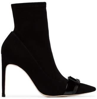 Sophia Webster black Andie 70 bow embellished suede boots