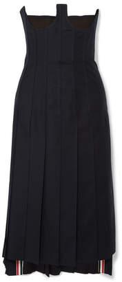 Thom Browne Lace-up Wool-twill Midi Dress - Navy