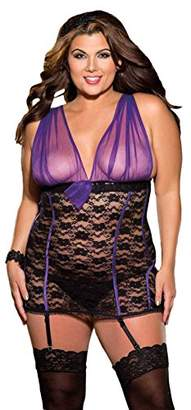 Shirley of Hollywood Women's Plus-Size Sexy Peek A Boo Mesh and Lace Chemise