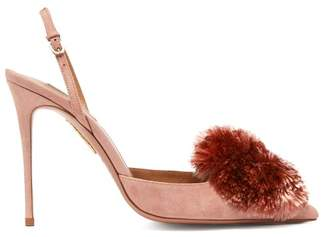 Aquazzura Powder Puff 105 Suede Pumps - Womens - Light Pink