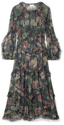Zimmermann Iris Ruffled Floral-print Silk-crepon Midi Dress - Charcoal