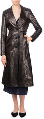 Magda Butrym Indiana Button-Front Belted Leather Trench Coat