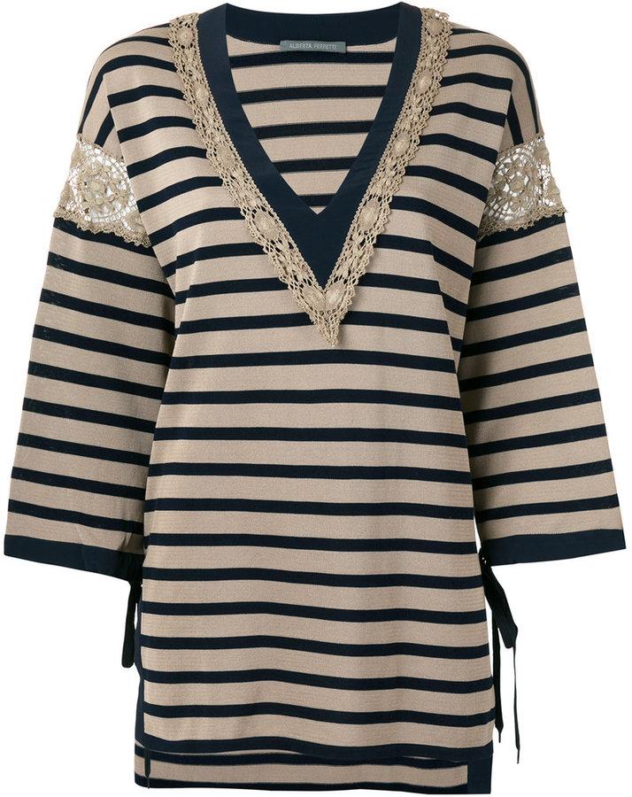Alberta FerrettiAlberta Ferretti striped v-neck jumper