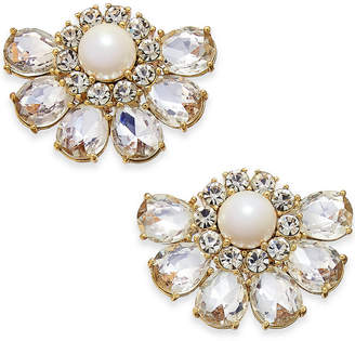 Kate Spade Gold-Tone Crystal & Imitation Pearl Cluster Stud Earrings