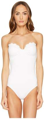 Kate Spade Core Solids #79 Scalloped Bandeau One-Piece w/ Removable Soft Cups Straps Women's Swimsuits One Piece