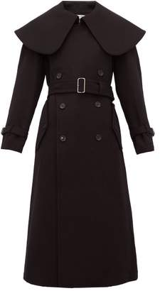 Comme des Garcons Exaggerated Collar Wool Blend Coat - Womens - Black