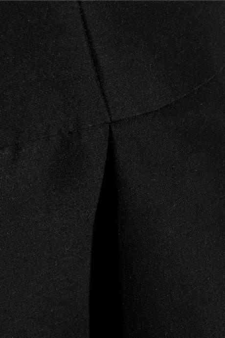 Halston Satin-trimmed cotton and silk-blend dress