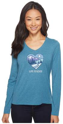 Life is Good Winter Heart Scene Long Sleeve Cool Vee Women's Long Sleeve Pullover
