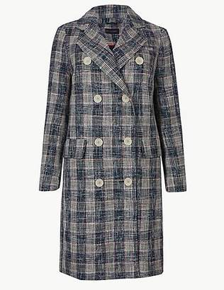 M&S Collection PETITE Checked Double Breasted Coat