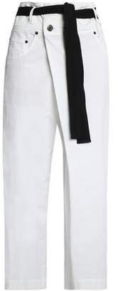 Brunello Cucinelli Belted Stretch Cotton-Twill Wide-Leg Pants