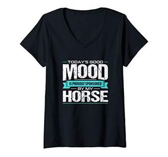Womens Funny Horse Tee Good Mood Sponso By My Horse V-Neck T-Shirt