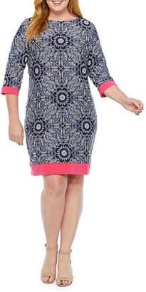 Tiana B 3/4 Sleeve Shift Dress-Plus