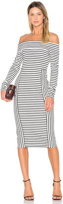 DEREK LAM 10 CROSBY Long Sleeve Off The Shoulder Midi Dress $375 thestylecure.com