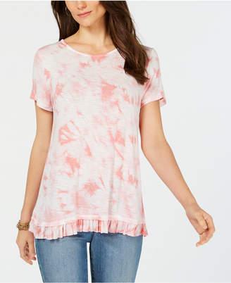 Style&Co. Style & Co Tie-Dye Ruffled-Hem T-Shirt