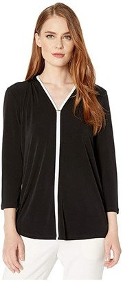 Calvin Klein Long Sleeve V-Neck Top with Piping and Hardware
