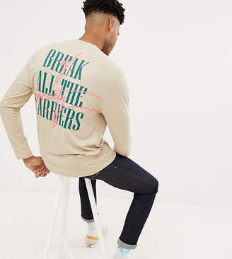Asos Design DESIGN Tall relaxed long sleeve graffiti back print and tipped rib
